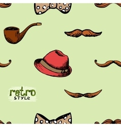 Pattern retro style hat and mustache vector image