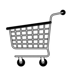 shopping cart icon in black dotted silhouette vector image vector image