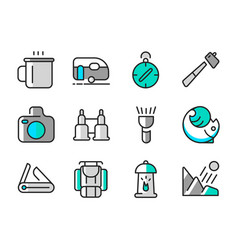summer camp icon set vector image