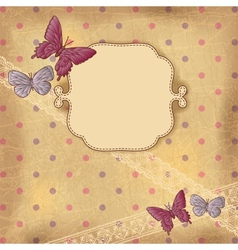 Vintage Butterflies Dots Background vector image