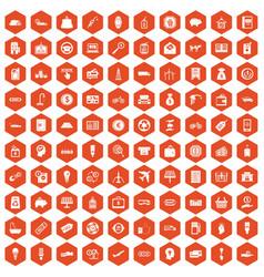 100 economy icons hexagon orange vector