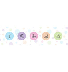 5 station icons vector