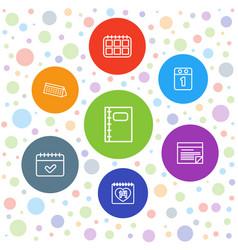 7 calendar icons vector
