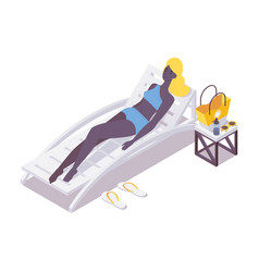 african woman relaxing on sunbed isometric scene vector image