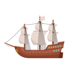 Age sail galeon wooden sailing ship isolated vector
