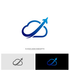 airplane cloud logo design concept vector image