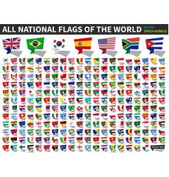 All national flags world speech bubbles vector