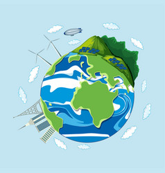 an earth icon on blue background vector image