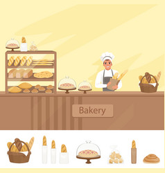 Bakery shop with baker character next vector