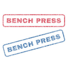 Bench press textile stamps vector