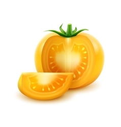 Big Ripe Yellow Fresh Cut Tomato Isolated vector