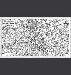 Birmingham uk city map in retro style outline map vector