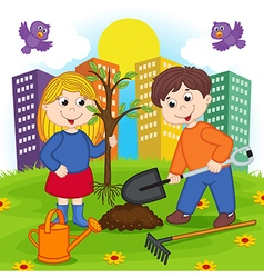 Boy and girl is planting tree vector