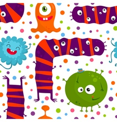 Bright monsters isolated on white seamless pattern vector image