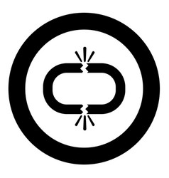 Broken link icon black color in circle round vector