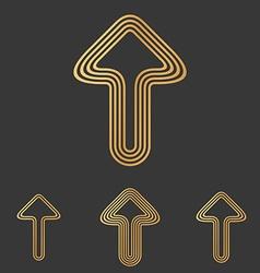 Bronze line arrow logo design set vector