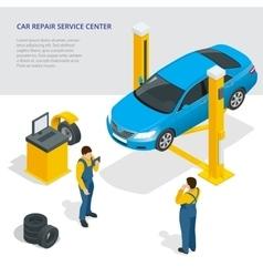 Car repair service center Tire service flat set vector