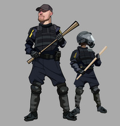 Cartoon men in special clothes police officers vector