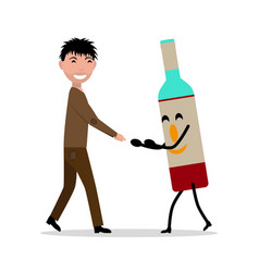 Cartoon young adult man with bottle alcohol vector