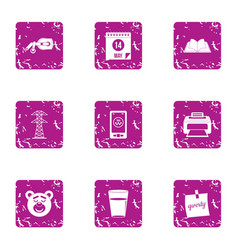 Case print icons set grunge style vector