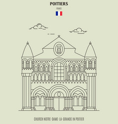 church notre-dame-la-grande in poitier vector image