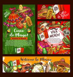 Cinco de mayo mexican sombrero teaquila guitar vector