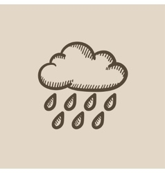 Cloud and rain sketch icon vector image