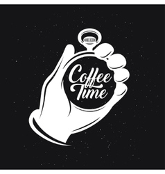 Coffee related creative monochrome poster vector image