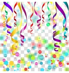 Colorful serpentine ribbons with golden dust on vector