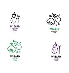 Creative series logos magic shop vegetables vector