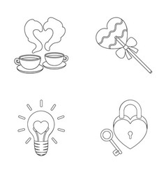 cups with coffee valentine lamp lock with key vector image