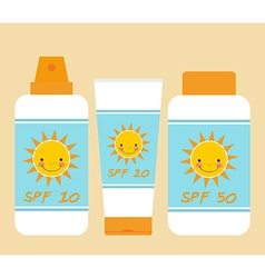 Cute bottles of sunscreen with different SPF vector image vector image