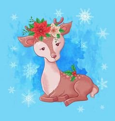 Cute christmas card with cartoon deer and a vector