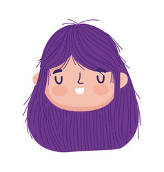 Cute little girl face character cartoon isolated vector
