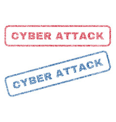 Cyber attack textile stamps vector