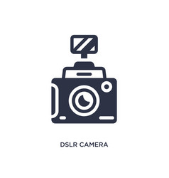 Dslr camera icon on white background simple vector