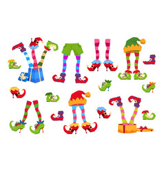 Elf feet elves foot in shoes and hat christmas vector