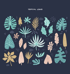 exotic tropical leaves hand drawn vector image
