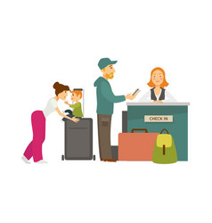 family with baggage at check in counter with vector image