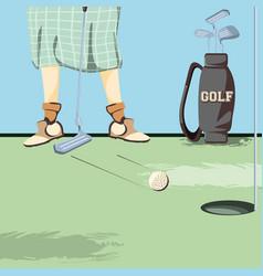 female golfer feet on golf course vector image