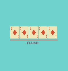 Flat icon on stylish background poker flush vector