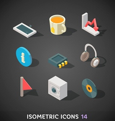Flat Isometric Icons Set 14 vector image
