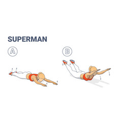 Girl doing superman exercise fitness home workout vector