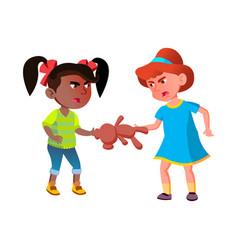 Girls children quarreling over teddy bear vector