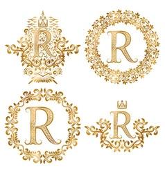 Golden R letter vintage monograms set Heraldic vector image