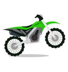 Green dirt bike on a white background vector
