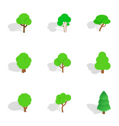 Green tree icons isometric 3d style vector