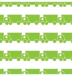 Green trucks seamless pattern vector