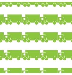 Green trucks seamless pattern vector image