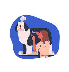 Grooming service flat dog vector